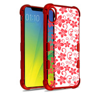 TUFF Klarity Electroplating Transparent Anti-Shock TPU Case for iPhone XS / X - Hibiscus Flower Red
