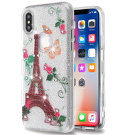 Tuff Full Glitter Diamond Hybrid Protective Case for iPhone XS / X - Paris Monarch Butterflies