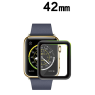 3D Curved Full Coverage Tempered Glass Screen Protector for Apple Watch 42mm - Black