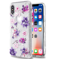 Tuff Full Glitter Diamond Hybrid Protective Case for iPhone XS / X - Purple Stargazers