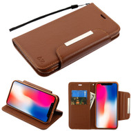 Designer Leather Wallet Shell Case for iPhone XR - Brown