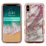 Military Grade Certified TUFF Hybrid Armor Case for iPhone XS Max - Marble Rose Gold