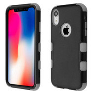 Military Grade Certified TUFF Hybrid Armor Case for iPhone XR - Black Grey