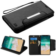 Designer Leather Wallet Shell Case for iPhone XS Max - Black