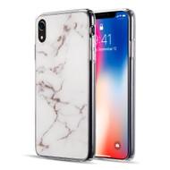 Marble IMD Soft TPU Glitter Case for iPhone XR - White