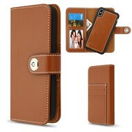 2-IN-1 Premium Leather Wallet with Removable Magnetic Case for iPhone XS Max - Brown