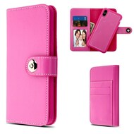 2-IN-1 Premium Leather Wallet with Removable Magnetic Case for iPhone XS Max - Pink