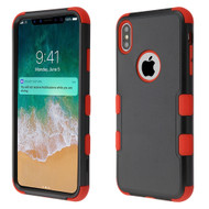 Military Grade Certified TUFF Hybrid Armor Case for iPhone XS Max - Black Red