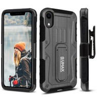 Heavy Duty Dual Layer Hybrid Armor Case with Holster and Tempered Glass Screen Protector for iPhone XR - Black