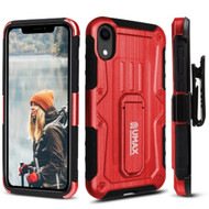 Heavy Duty Dual Layer Hybrid Armor Case with Holster and Tempered Glass Screen Protector for iPhone XR - Red