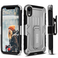 Heavy Duty Dual Layer Hybrid Armor Case with Holster and Tempered Glass Screen Protector for iPhone XR - Silver