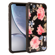 Scratch Resistant Tempered Glass Air Cushion TPU Fusion Case for iPhone XR - Peony Black