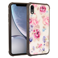 Scratch Resistant Tempered Glass Air Cushion TPU Fusion Case for iPhone XR - Peony White