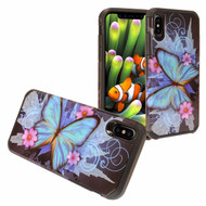 Hybrid Multi-Layer Armor Case for iPhone XR - Blue Butterfly