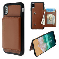 Pocket Wallet Case with Stand for iPhone XS Max - Brown