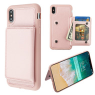 Pocket Wallet Case with Stand for iPhone XS Max - Rose Gold