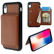 Pocket Wallet Case with Stand for iPhone XR - Brown