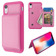 Pocket Wallet Case with Stand for iPhone XR - Hot Pink