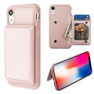Pocket Wallet Case with Stand for iPhone XR - Rose Gold