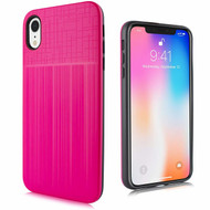 Double Texture Anti-Shock Hybrid Protection Case for iPhone XR - Hot Pink