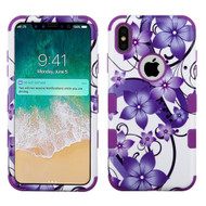 Military Grade Certified TUFF Hybrid Armor Case for iPhone XS Max - Purple Hibiscus Flower