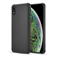 Carbon Fiber Design Soft TPU Case with Shock Absorb Corners for iPhone XR - Black