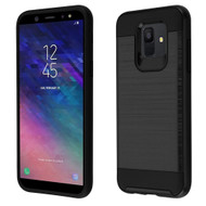 Brushed Coated Hybrid Armor Case for Samsung Galaxy A6 (2018) - Black