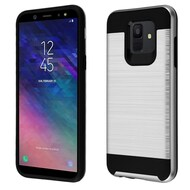 Brushed Coated Hybrid Armor Case for Samsung Galaxy A6 (2018) - Silver