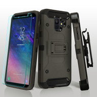 3-IN-1 Kinetic Hybrid Armor Case with Holster and Tempered Glass Screen Protector for Samsung Galaxy A6 (2018) - Grey