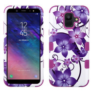 Military Grade Certified TUFF Hybrid Armor Case for Samsung Galaxy A6 (2018) - Purple Hibiscus Flower