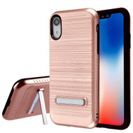 Brushed Multi-Layer Hybrid Armor Case with Kickstand for iPhone XR - Rose Gold