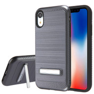 Brushed Multi-Layer Hybrid Armor Case with Kickstand for iPhone XR - Grey