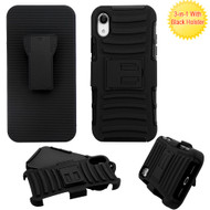 Advanced Armor Hybrid Kickstand Case with Holster for iPhone XR - Black