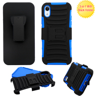 Advanced Armor Hybrid Kickstand Case with Holster for iPhone XR - Blue