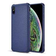 Carbon Fiber Design Soft TPU Case with Shock Absorb Corners for iPhone XS Max - Blue