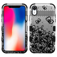 Military Grade Certified TUFF Hybrid Armor Case for iPhone XR - Lace Flower Black