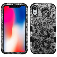 Military Grade Certified TUFF Hybrid Armor Case for iPhone XR - Four Leaves Clover Black