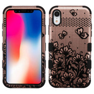 Military Grade Certified TUFF Hybrid Armor Case for iPhone XR - Lace Flower Rose Gold