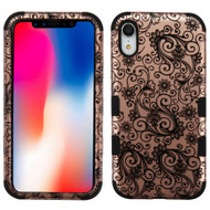 Military Grade Certified TUFF Hybrid Armor Case for iPhone XR - Four Leaves Clover Rose Gold