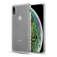 Carbon Fiber Design Soft TPU Case with Shock Absorb Corners for iPhone XR - White