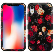 Military Grade Certified TUFF Hybrid Armor Case for iPhone XR - Red and White Roses 035