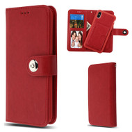 3-IN-1 Luxury Leather Wallet Case for iPhone XS Max - Red