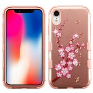 Military Grade Certified TUFF Diamond Hybrid Armor Case for iPhone XR - Spring Flower Rose Gold