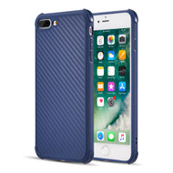 Carbon Fiber Design Soft TPU Case with Shock Absorb Corners for iPhone 8 Plus / 7 Plus - Blue
