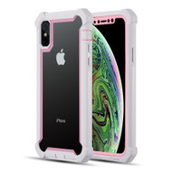 Vispro Series Tough Transparent Case for iPhone XS / X - Pink White