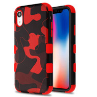 Military Grade Certified TUFF Hybrid Armor Case for iPhone XR - Camouflage Red