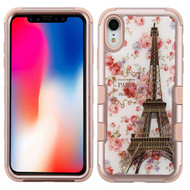Military Grade Certified TUFF Hybrid Armor Case for iPhone XR - Paris in Full Bloom Rose Gold