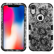 Military Grade Certified TUFF Hybrid Armor Case for iPhone XR - Four Leaves Clover Black 195