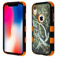 Military Grade Certified TUFF Hybrid Armor Case for iPhone XR - Tree Camouflage Orange 023