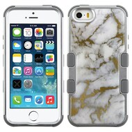 Military Grade Certified TUFF Image Hybrid Case for iPhone SE / 5S / 5 - Marble Silver